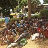 Bible Class outside Church Hall in Kibera