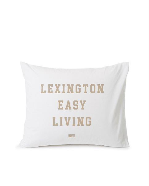 Lexington Printed Organic Cotton Poplin Pillowcase, White / Beige