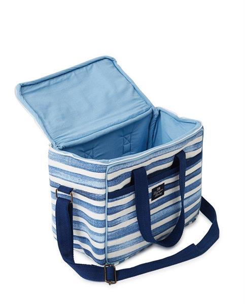 Lexington Blue Striped Cotton Canvas Cooler Bag