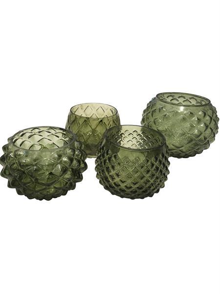 Glass lyslykter olivengrønn sett à 4