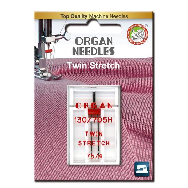Nål Organ Tvilling Stretch 4mm 75, 1-pakk