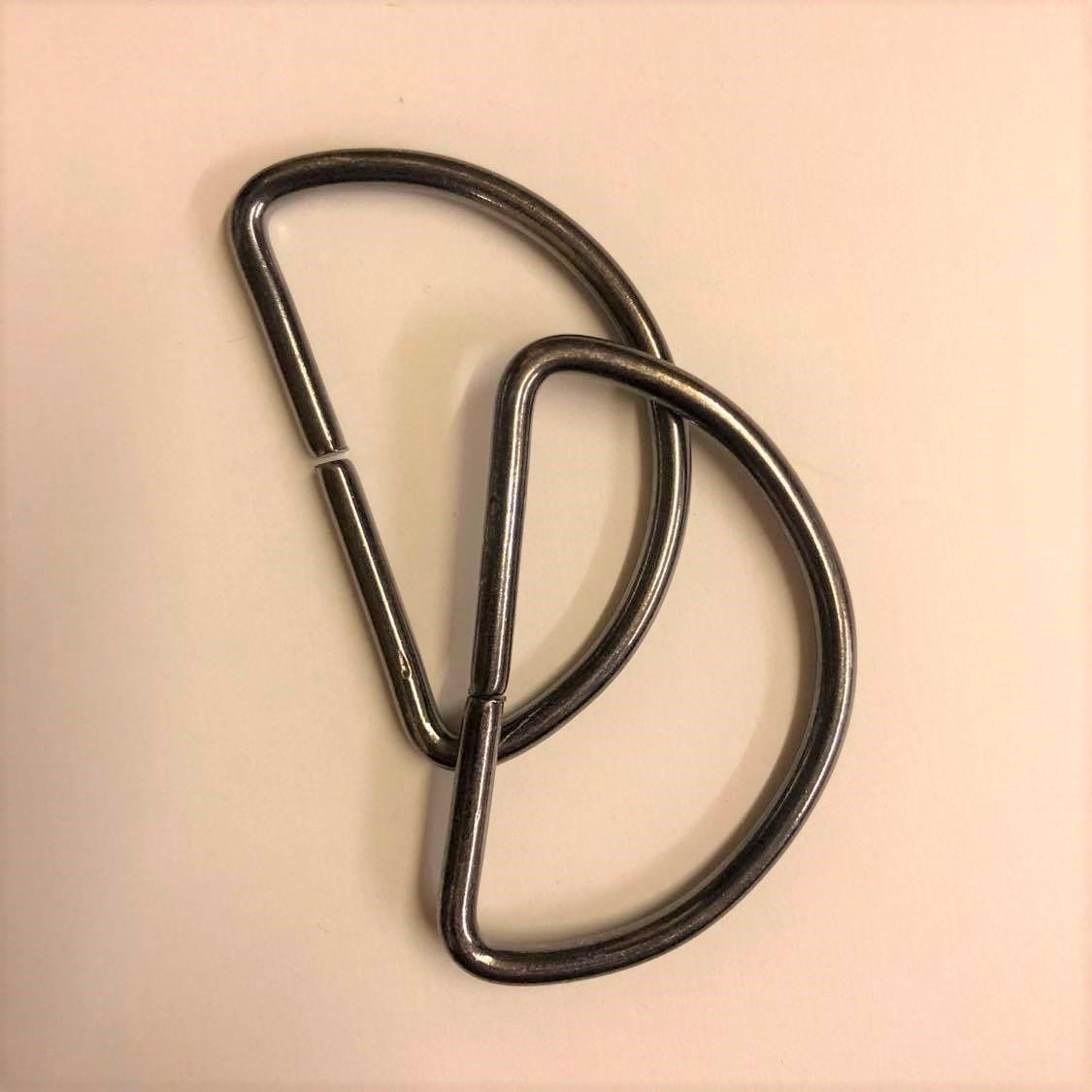 D-ring, 2stk, Blank mørk . 50mm