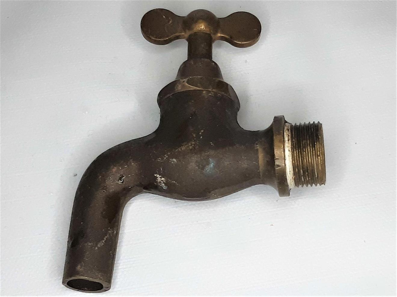 Vintage Mässingskran för regnvattenstunna/vintunna