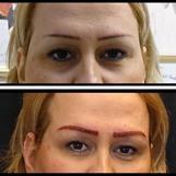 Före och efter permanent make up classic