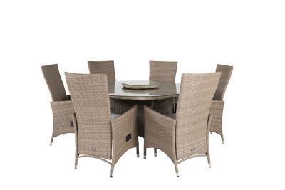 PADOVA Matbord ø140 + 6 matstolar