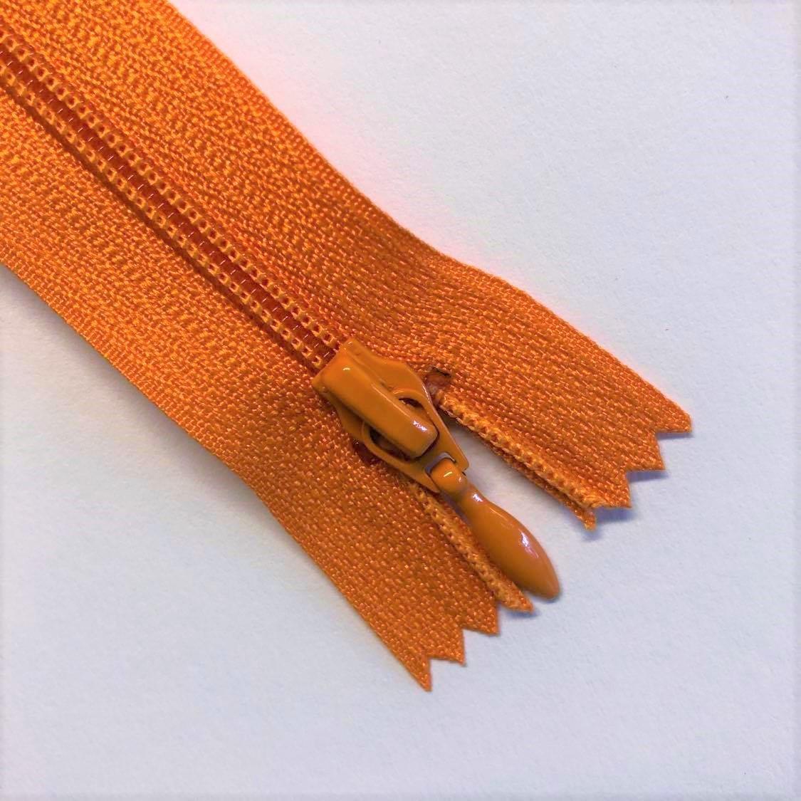 Glidelås, nylon, oransje 20cm/4mm