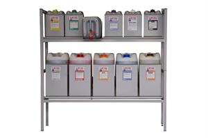Kaatoteline 5 L ja 20 L kanistereille - Industrial Powdercoated Rack (8x5, 5x25)