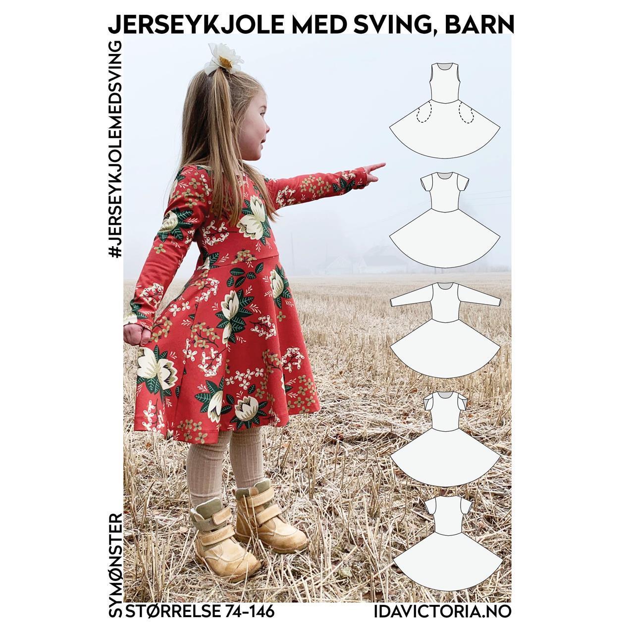 Jerseykjole med sving, barn