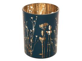 Lysglass m/blomster matt blå 10x12,5cm