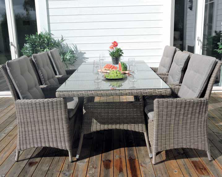 Vikelund Matbord med 6 Stolar Hög Rygg