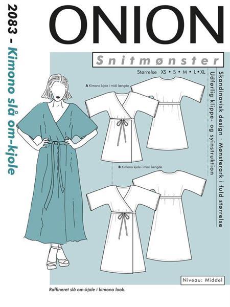 2083-Kimono slå om-kjole