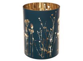 Lysglass m/blomster matt blå 15x20cm