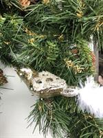 Julekule fugl m/hvite fjær