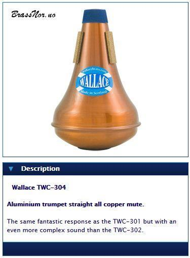 Wallace Trumpet straight all copper mute