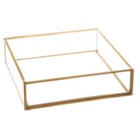 Serviettholder glass m/ gullramme