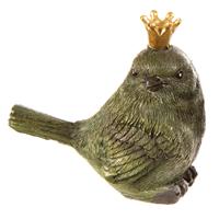 Fugl grønn og sort m/ gullkrone