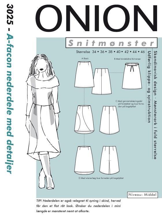 Onion: 3025, A-fasong nederdel med detaljer