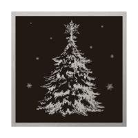 Kort Juletre Sort/Sølv