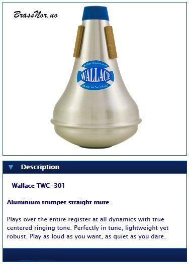Wallace Aluminium trumpet straight mute.