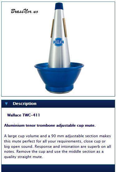 Wallace Aluminium tenor trombone adjustable cup mu
