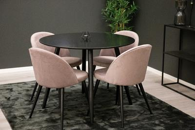 Plaza matbord och 4 st Velvet matstolar