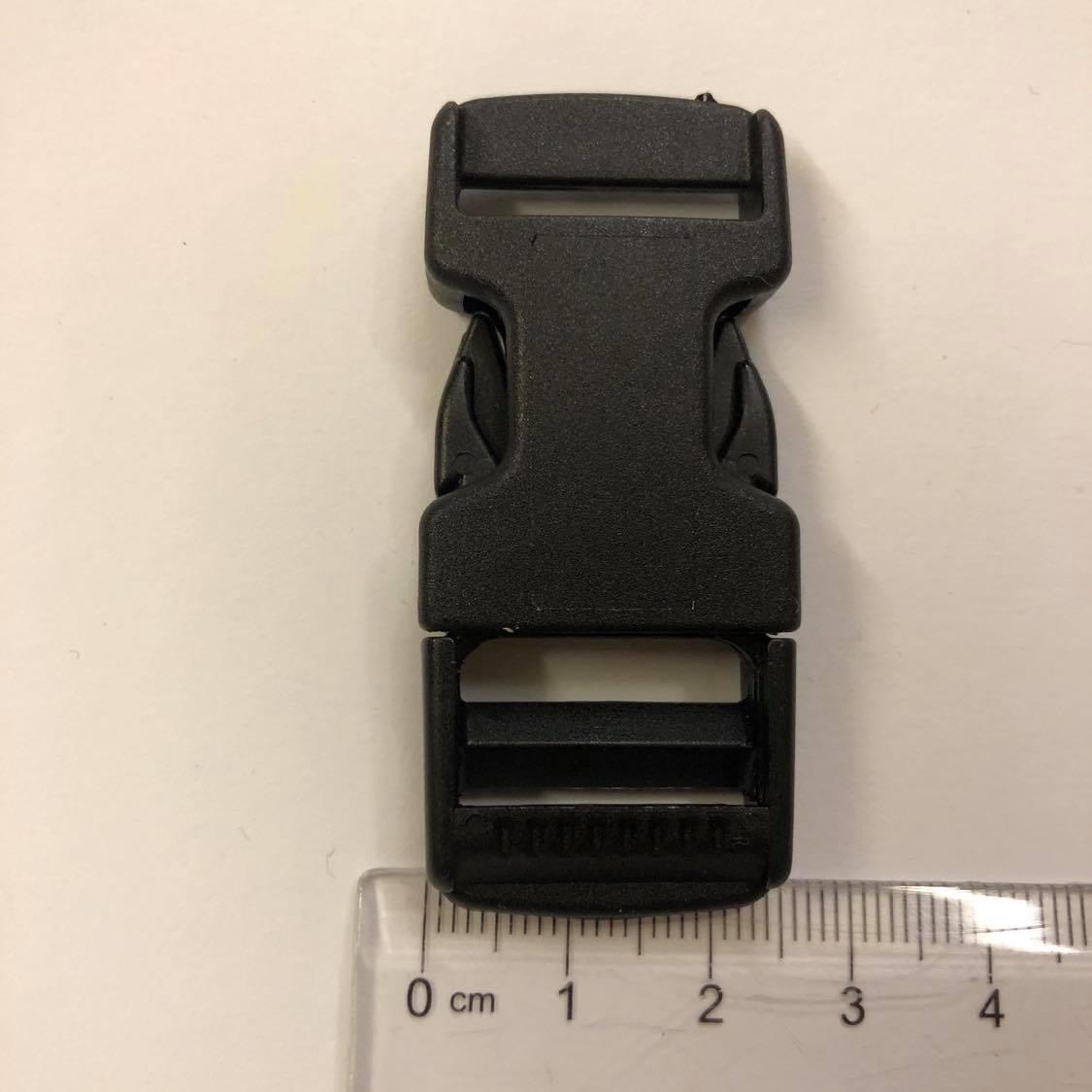 Lukkespenne, plast, sort 2,5cm