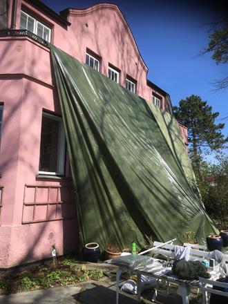 Tildekking av balkongdekke mot sol/ regn ved utførsel