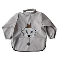 Ruokalappu hihallinen Jääkarhu, vaalean harmaa 6p
