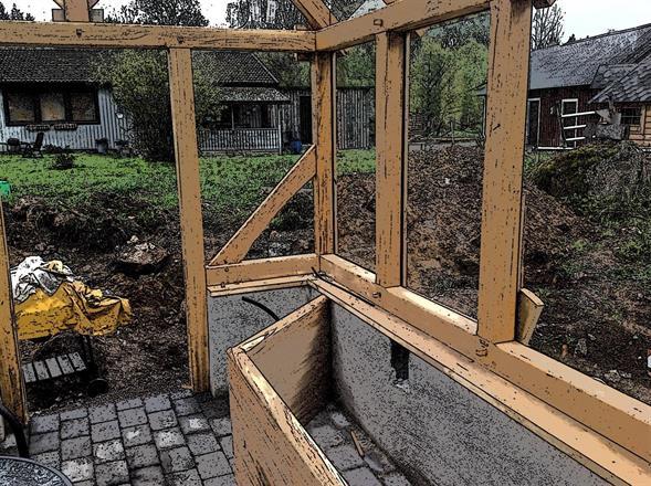 Odlingsbänk bygd utav hel ekskiva