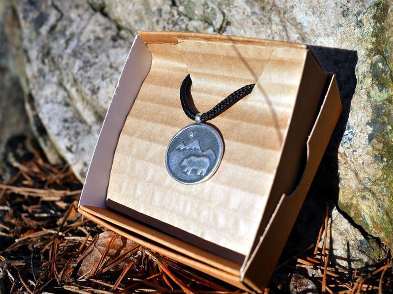 Halsband, Berg och björn, Sterling silver, Unisex