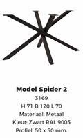 Spider 2 zwart poedercoating hoogte 71cm