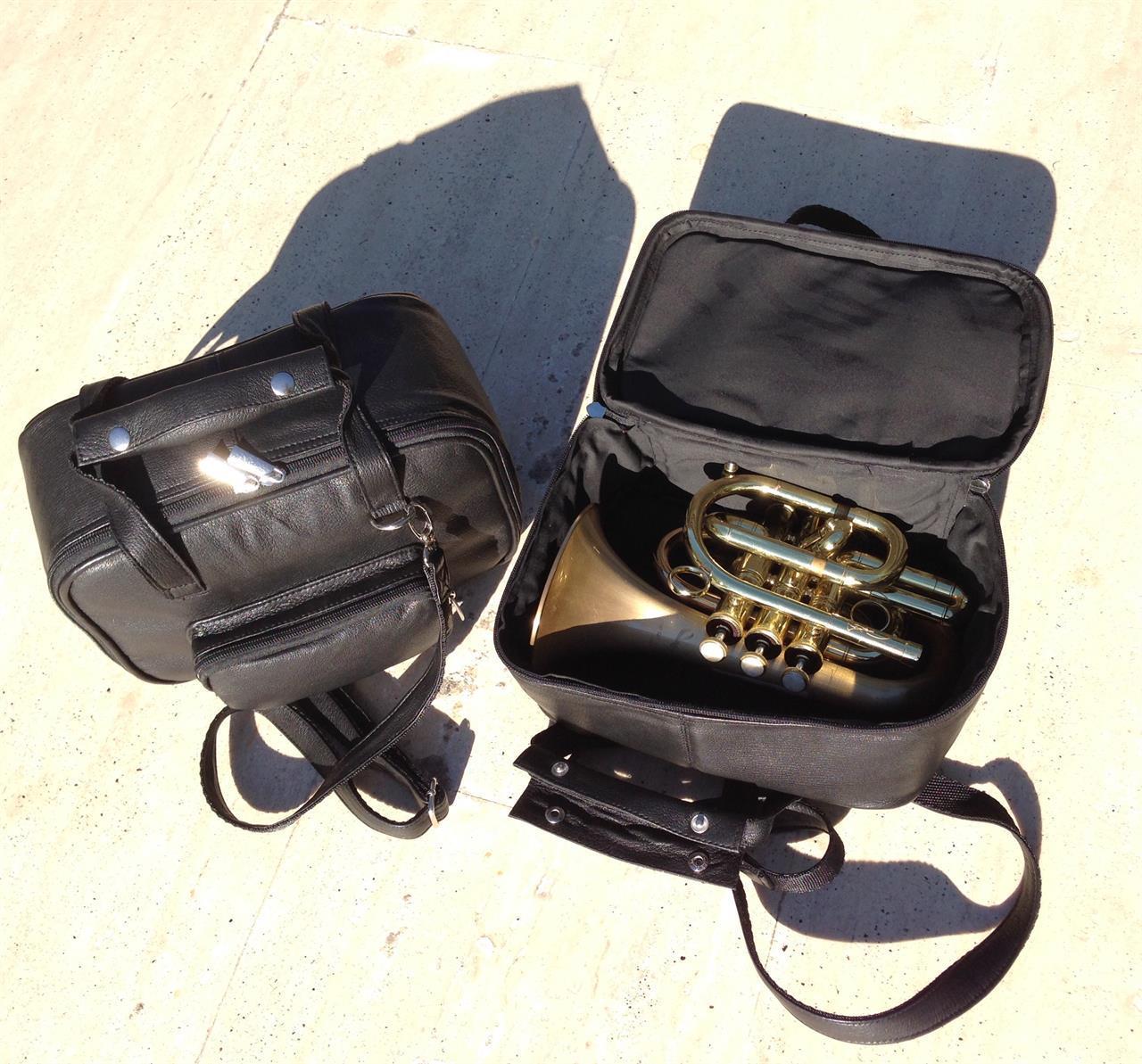 Gigbag for pockettrompet, skinn