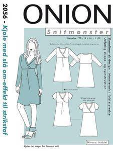 Onion: 2056 - kjole med slå om-effekt til stretch