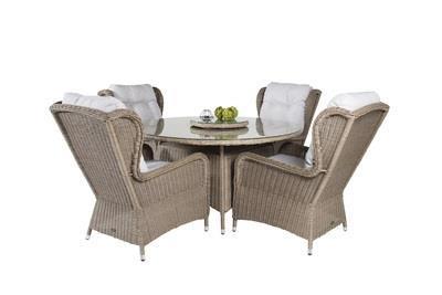 WASHINGTON Matbord ø140 + 4 matstolar
