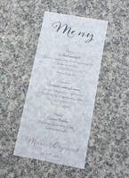 Meny på transparent papir