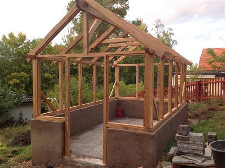 Växthus i ek. 10 m2. 70 x70 stomme