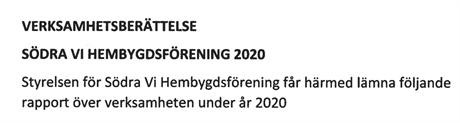 Verksamhetsberättelse 2020