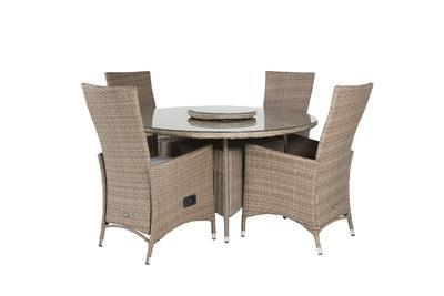 PADOVA Matbord ø140 + 4 matstolar