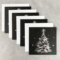 Kort Juletre Sort/Sølv - 4pk