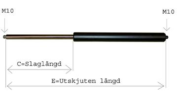 Gasfjäder Star SAFIR, RUBIN Tryck 1700N