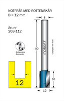 Notfräs D=12, L=20, TL=80mm