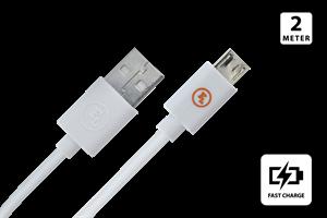 Micro USB laddkabel 2M Vit
