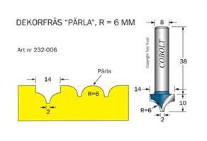 Dekorfräs Pärla R=6, D=14