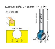 Kornischfräs D=16, L=16mm