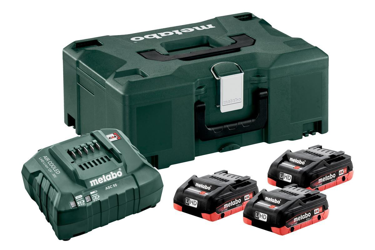 Metabo Batterikit 18v 3x4Ah LIHD+laddare