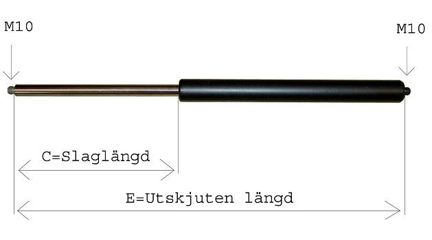 Gasfjäder 14/28 E=468, C=200