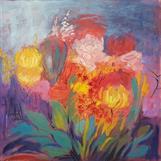 """Höstblommor"", oil on canvas, 100x100 cm, Christine Friman"