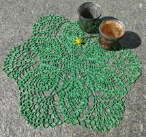 6-kantet hekleduk i grønn ombrefarge