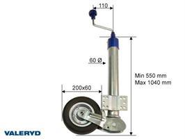 Automatstödhjul Ø60mm rund, stålfälg,