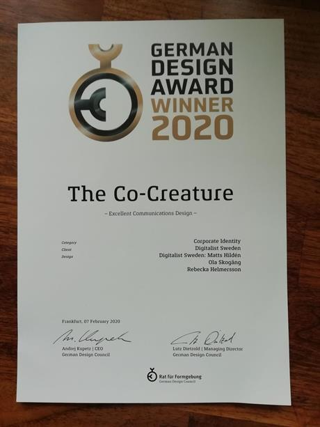 German Design Award WINNER 2020 - För The Co-Creature